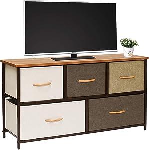 Kamiler Wide Dresser Storage Tower 5 Drawer Organizer Chest for Bedroom, Hallway, Entryway, Closets, Living Room,TV Stand, Sturdy Steel Frame, Wood Top (Cream)