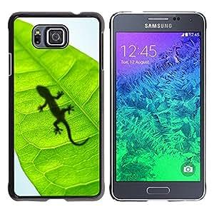 Be Good Phone Accessory // Dura Cáscara cubierta Protectora Caso Carcasa Funda de Protección para Samsung GALAXY ALPHA G850 // Cute Lizard Leaf Reptile Gecko