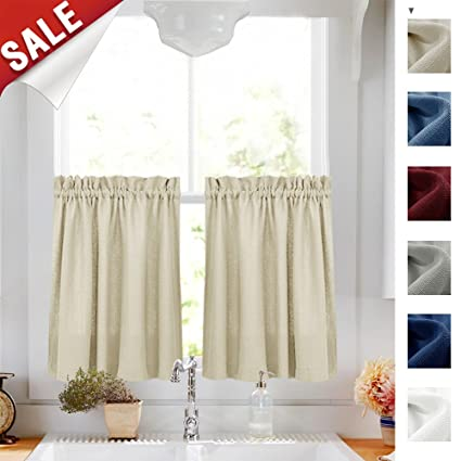 tier curtains 24 l kitchen window cafe curtain set of 2 panels beige half window - Kitchen Cafe Curtains