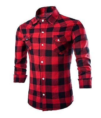 Zimaes-Men Plaid Long-Sleeve Square Collar Plus-Size Work Shirt