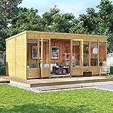 BillyOh 16x8 Bella Tongue and Groove Modern Garden Summerhouse Pent Roof & Felt 16FT x 8FT