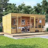 BillyOh 16x8 Bella Tongue and Groove Modern Garden Summerhouse Pent Roof & Felt 16FT x 8FT