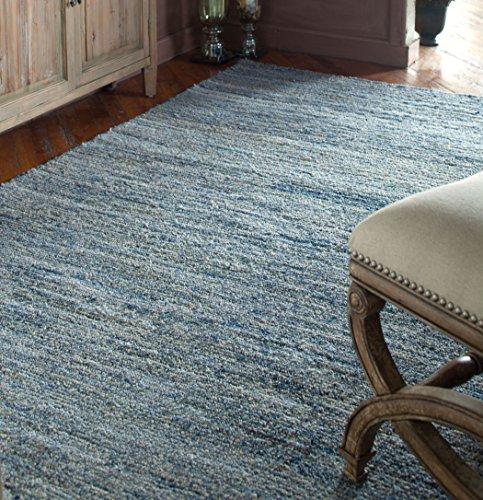 Indigo Dark Blue Gray Denim Weave Rug | Soft Wool 5 x 8