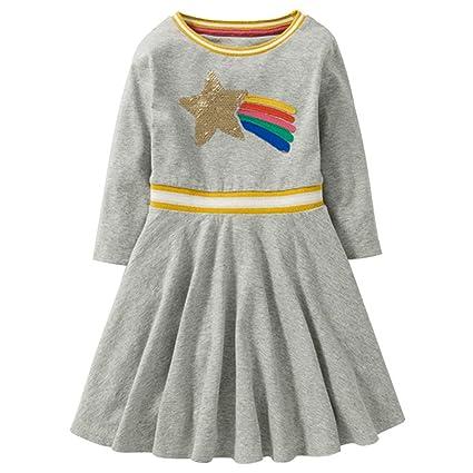 feiXIANG Ropa Infantil de Primavera Vestido Casual Vestido Largo de algodón Vestido de Princesa Vestido de