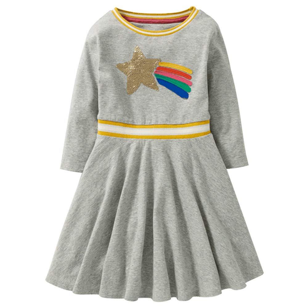 Zerototens Girls Dress for 1-9 Years Old Children, Autumn Winter Kids Warm Blouse Tops Toddler Baby Long Sleeve Sequins Double-Color Cartoon Print Pleated A-Line Mini Skirt Jumper Dress