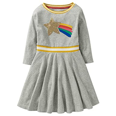 7dff0eef13556 秋 子供服 女の子 長袖 ワンピース 女児服 キッズ服 可愛い服 シークイン スター ドレス 洋子