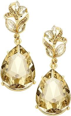 Rosemarie Collections Womens Crystal Teardrop Post Stud Earrings