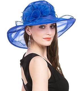SAFERIN Women s Organza Church Kentucky Derby Fascinator Bridal Tea Party  Wedding Hat 9adbccff4309