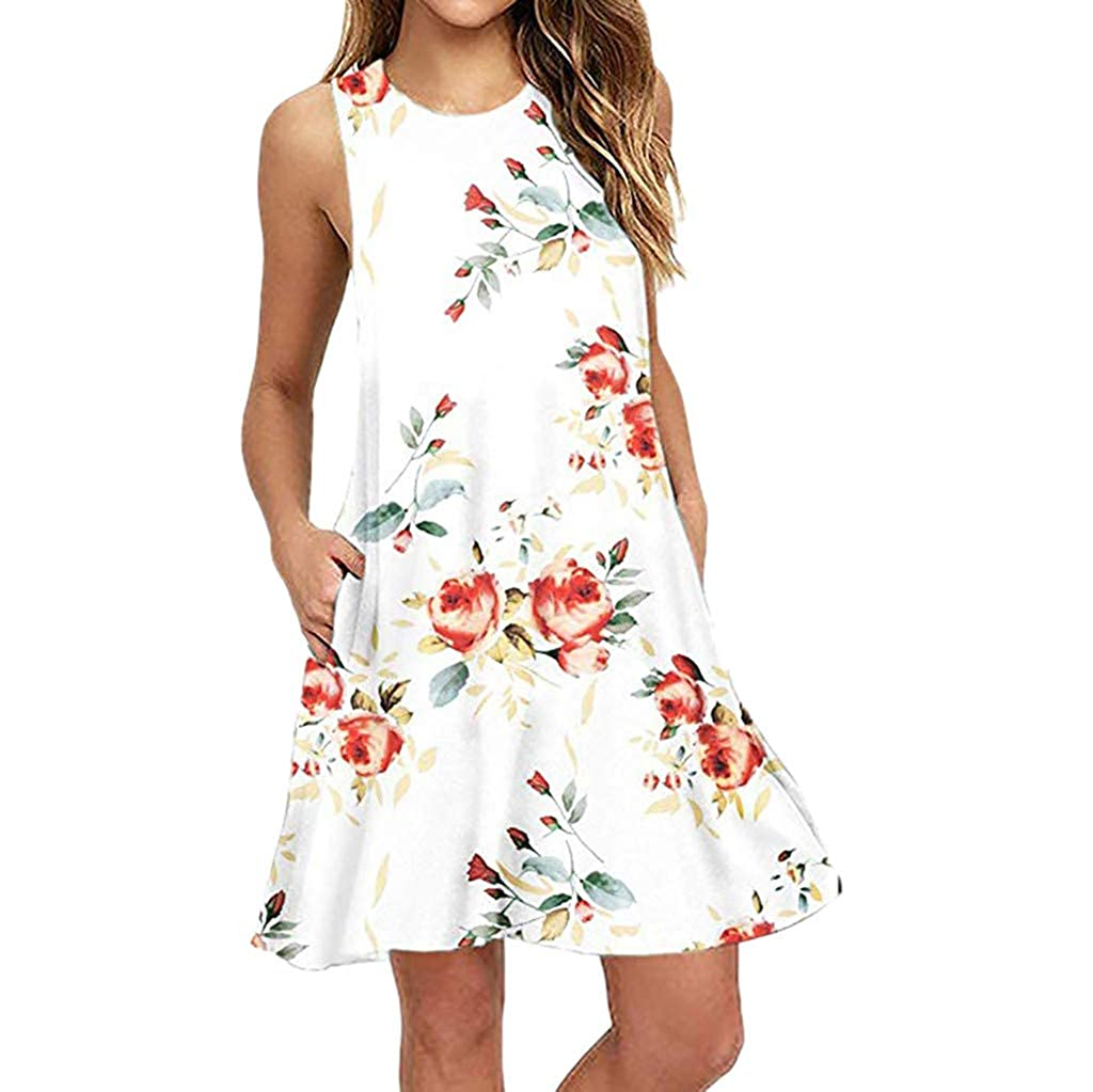 MEIbax Vintage Summer Linen Dresses Women Fashion Summer Sleeveless Leaf Printing Above Knee Beach Party Dress A-Line Tank Vest Dress Mini Dress