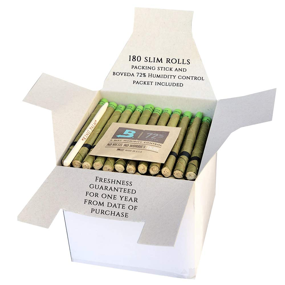 King Palm Hand Rolled Leaf Wrap Rolls + Boveda - Slim Size - 180 Count Bulk Pack