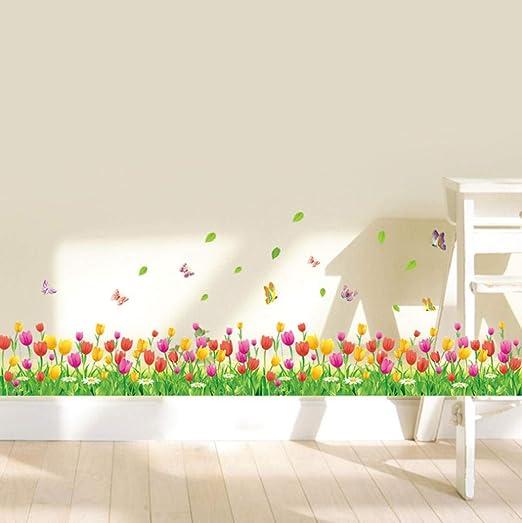 Coloridas flores de tulipán cercas zócalo pegatinas de pared para ...