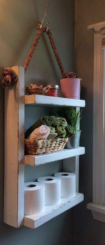 Amazon Com Over The Toilet Storage Wooden Ladder Shelf Storage
