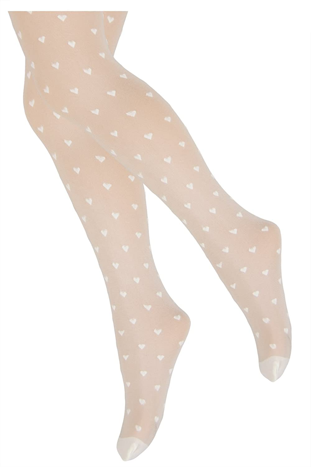 TLLC Girls Ivory/Cream Tights 20 Denier Sheer Multi Hearts Pattern For Special Occasions