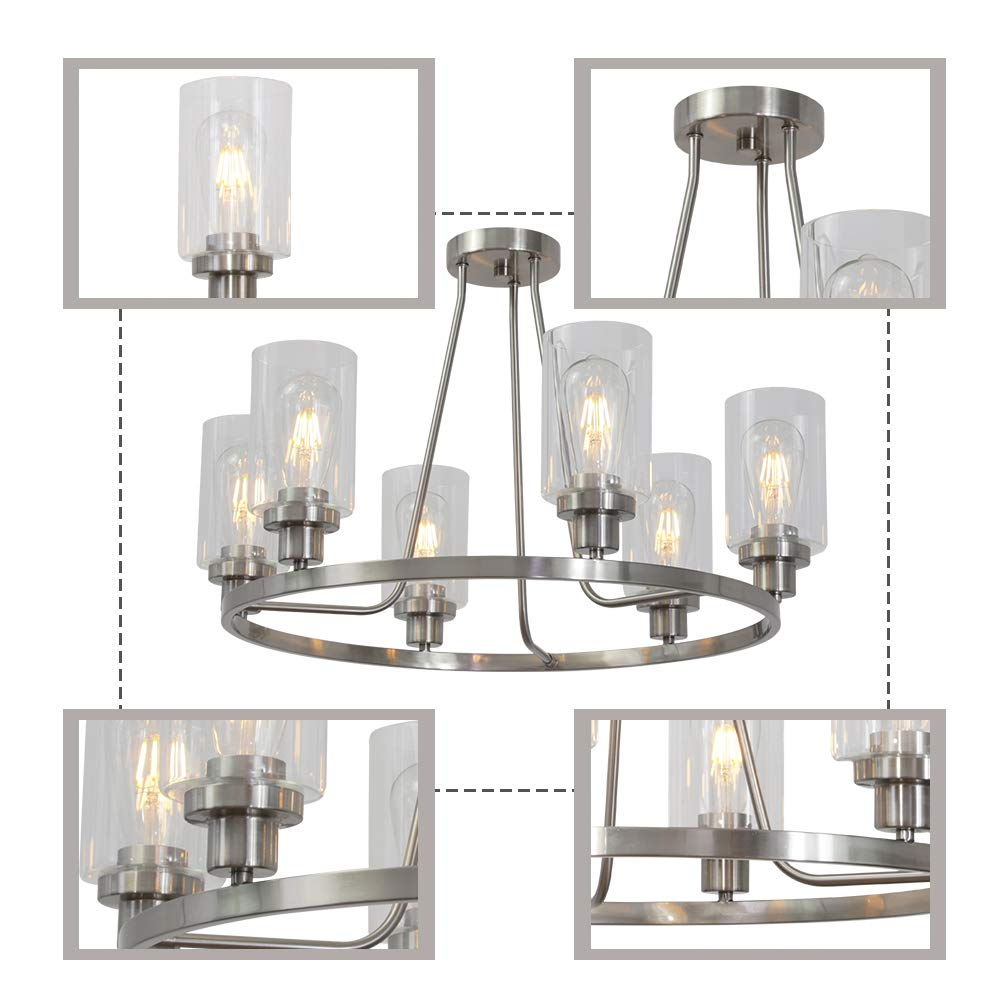MELUCEE 6-Light Brushed Nickel Round Chandelier with Clear Glass Shade, Semi Flush Mount Ceiling Light Island Lighting for Dining Room Living Room Bedroom UL Listed by MELUCEE (Image #7)