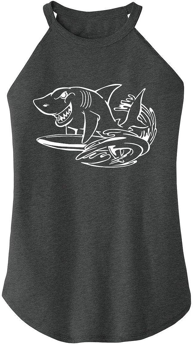Comical Shirt Ladies Surfing Shark Graphic Tee Rocker