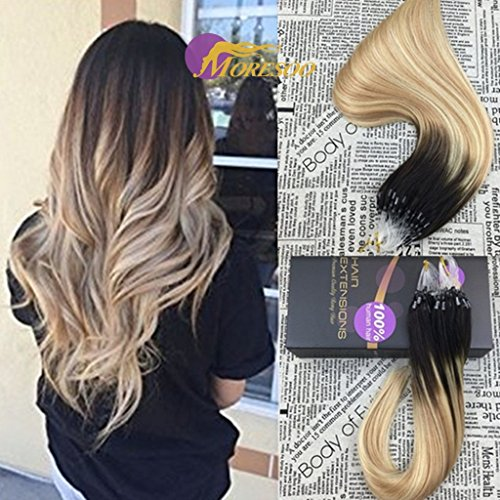 Moresoo 14 50g ombre micro ring hair extensions full head dip dye moresoo 14quot 50g ombre micro ring hair extensions full head dip dye balayage color darkest pmusecretfo Choice Image