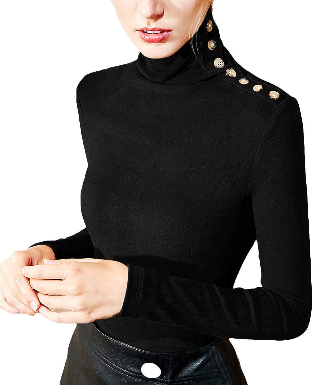 Dilgul Camicette delle Donna Magliette con Scollo a V Slim Fit Casual Bottone Camicia Manica T-Shirt Tops Blusa