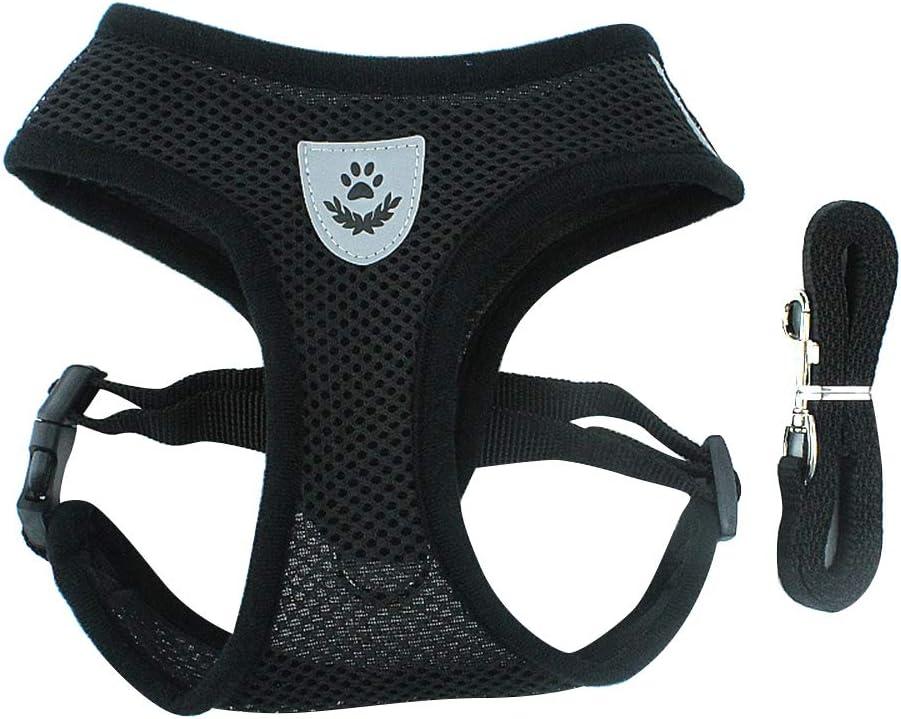 BLEVET Arnés Perro Gato Ajustable Respirante Pequeña Chaleco para Cachorros, Perros Pequeños y Gatos MZ046 (M, Black)