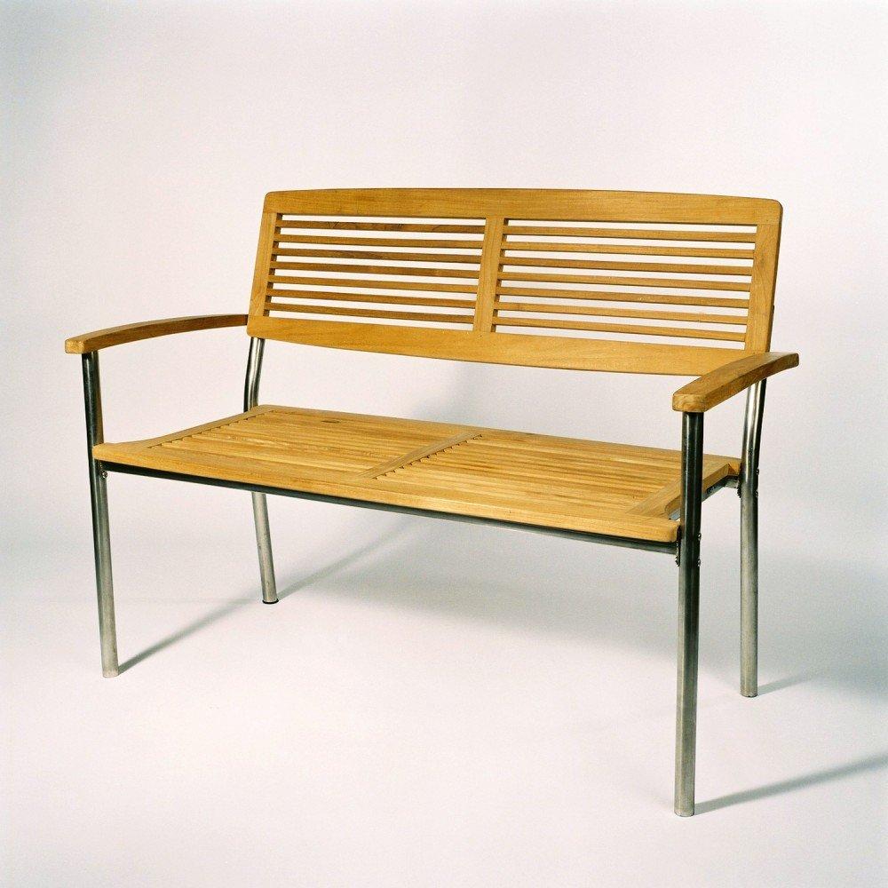 2-Sitzer Bank Teak / Edelstahl B/H/T 125x93x62 cm