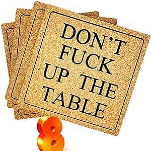 Posavasos para bebidas absorbentes, 4 unidades, forma cuadrada de 10,16 cm, comprar 1 consigue 1 última intervensión solo obtén 8 posavasos divertidos que es más grande que el estándar redondo de corcho – pasiva agresiva, mesa de ping pong Don 't FitiCK