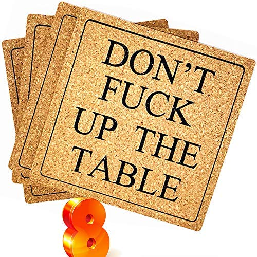 ENKORE Funny Coasters For Drinks Absorbent - DON'T F UP THE TABLE (Uncensored) - 8 Pack 4