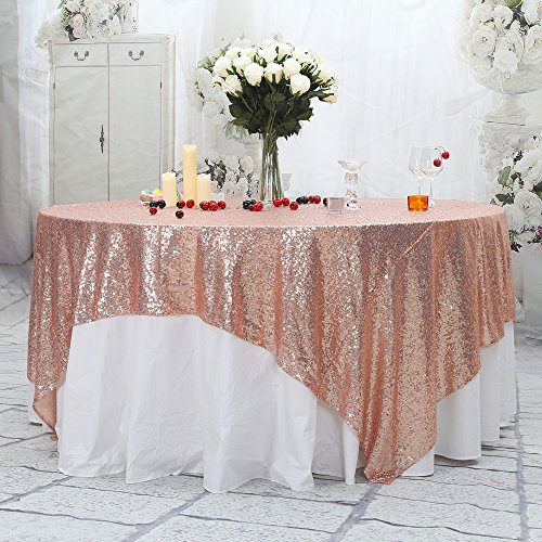 "PartyDelight Sequin Tablecloth, Sequin Table Overlay, Square, 90""x90"", Rose Gold"