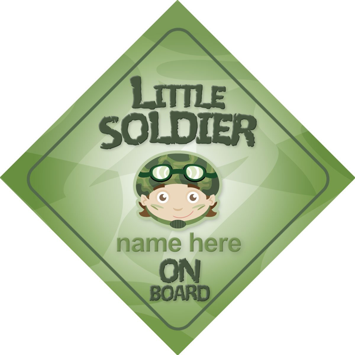 Little Soldier On Board Personalised Car Sign New Baby / Child Gift / Present Quality Goods Ltd
