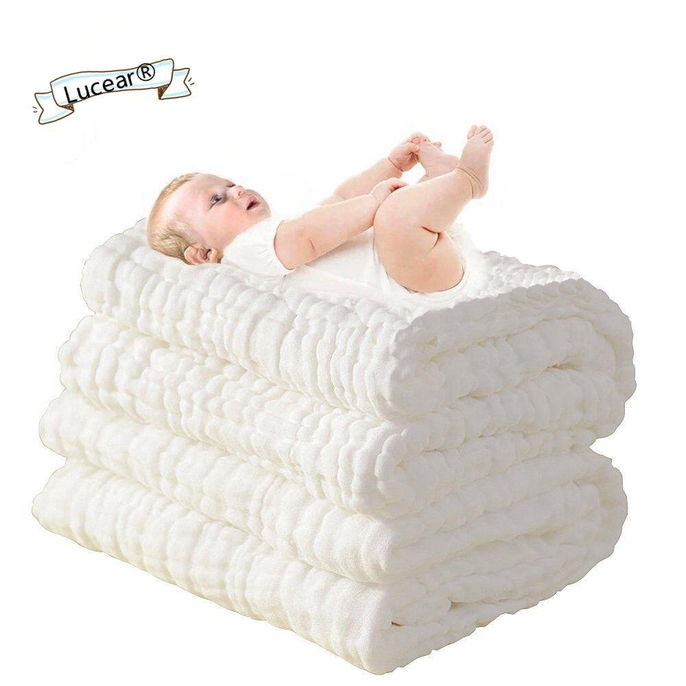 Lucear Asciugamano da Bagno di Cotone Mussolino per Il Bambino Neonato (Giallo1)