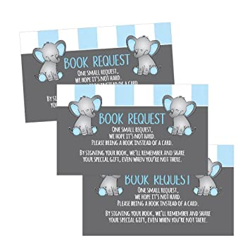 Amazon 25 books for baby request insert card for boy blue 25 books for baby request insert card for boy blue elephant baby shower invitations or invites filmwisefo