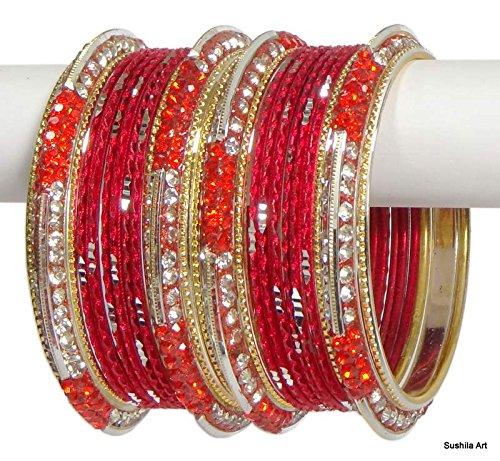 [Set of 24 Indian Ethnic Bangles Costume Bollywood Belly Dance Bracelets Red-2.10 (Inner Diameter 2.62] (Ethnic Dance Costume)