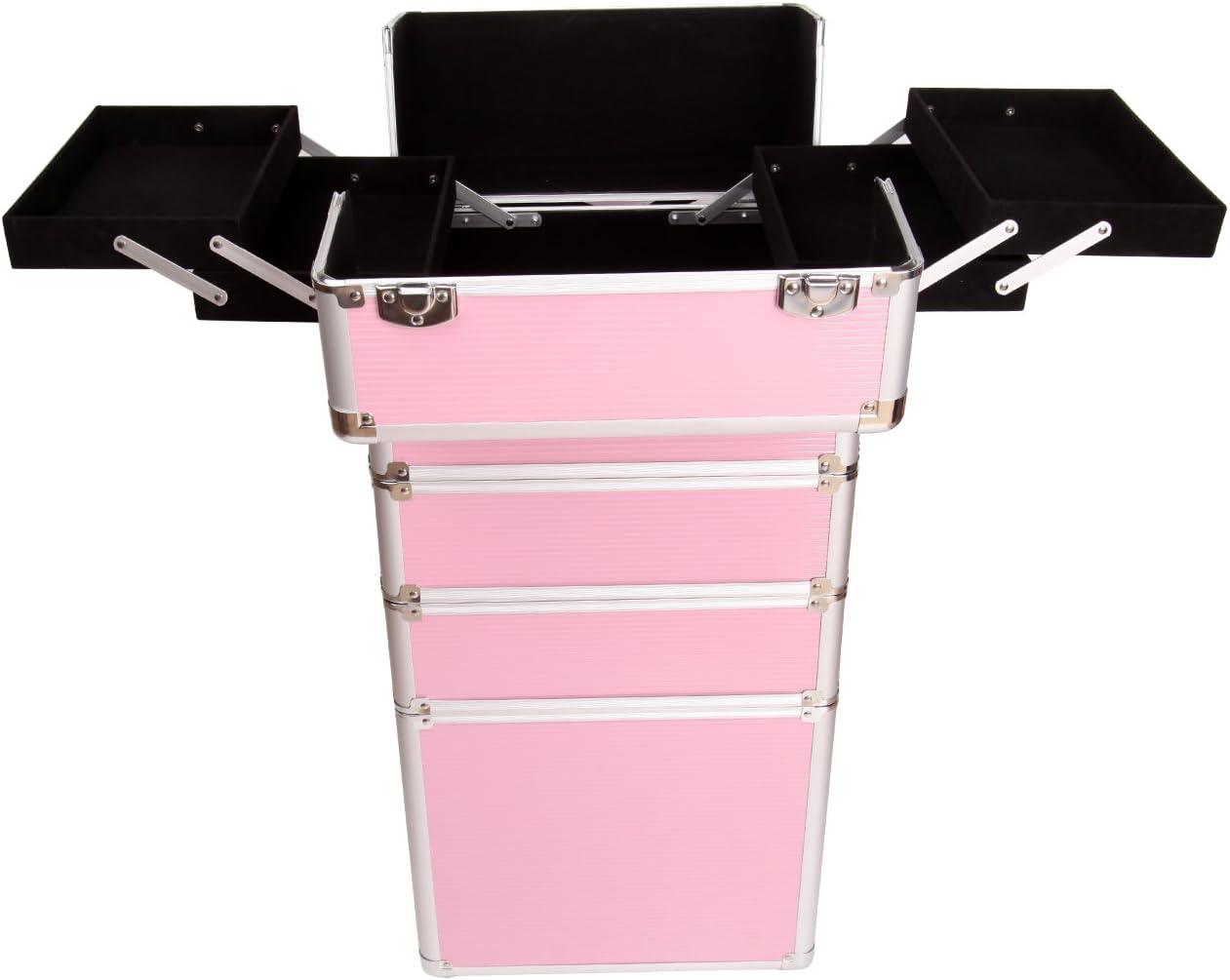 Paneltech 4 en 1 grand maquillage Beauty Rolling Case Organiseur Cosm/étiques Coiffeuse Box de rangement verrouillable Professional Professional Travel Trolley argent