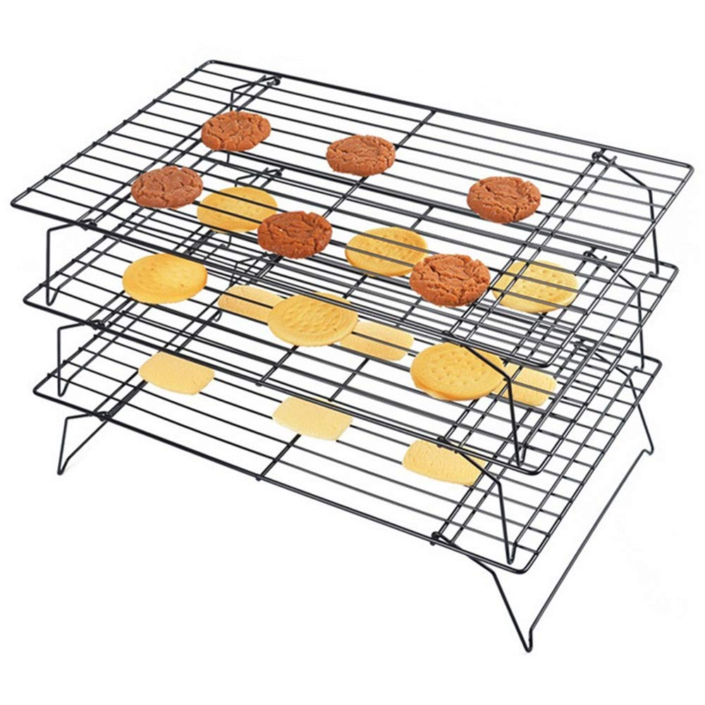 Mokpi Stainless Steel 3-Tier Stackable Non-Stick Cooling Rack Set, Thick Wire Heavy Duty Commercial Quality Wire Rack