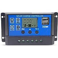 Hinmay - Controlador de carga solar, 10 A/20 A/30 A, regulador de carga inteligente, puerto USB, protección de sobrecarga de pantalla LCD, Corriente de carga: 10 A azul.