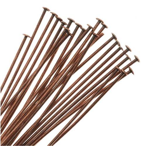 Beadaholique Genuine Antiqued Copper Head Pins 24 Gauge 1.5 Inches (24)