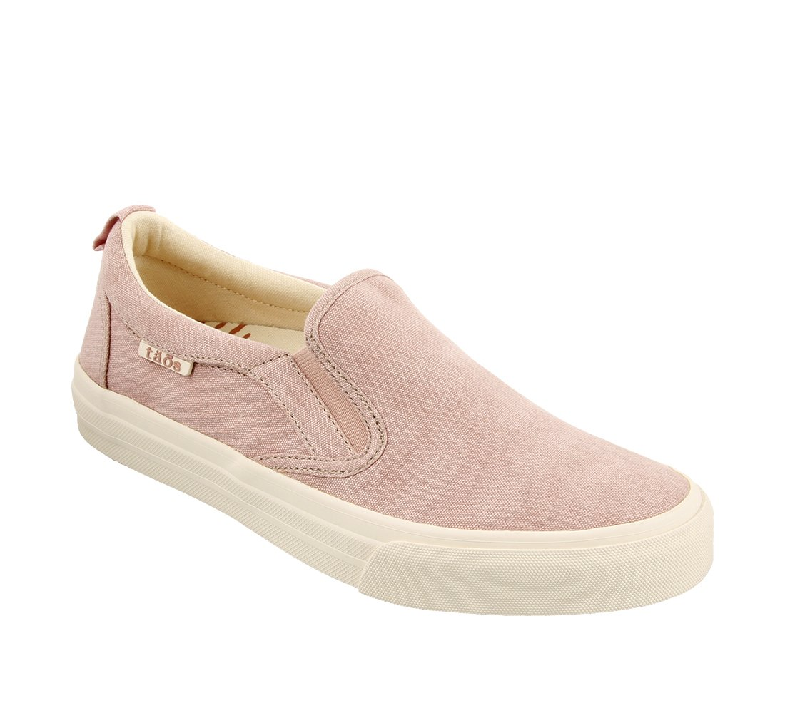 Taos Footwear Women's Rubber Soul Slip On B073MLN3DX 9.5 M US|Pink Wash Canvas