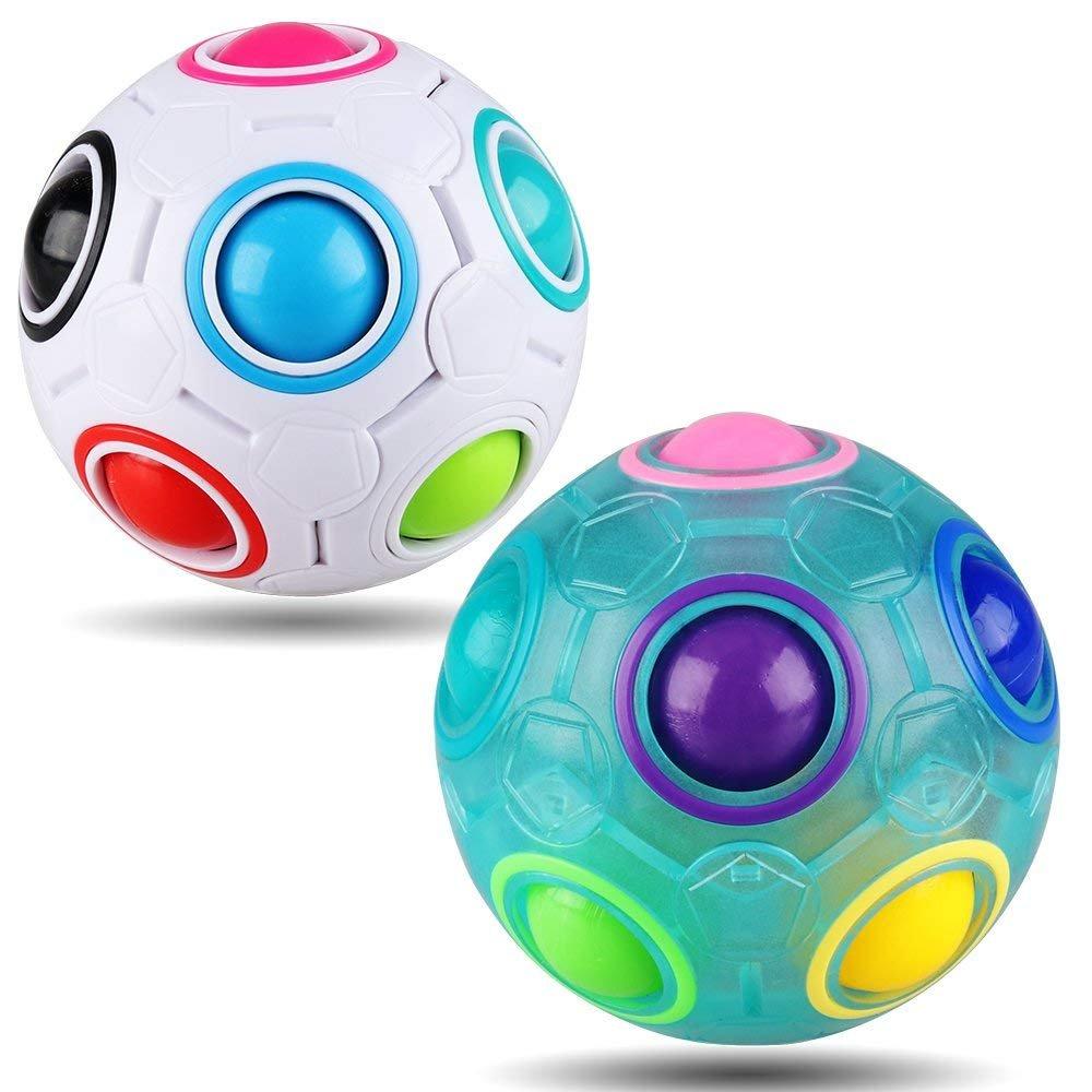 Yojoloin Regenbogen Puzzle Ball Cube Magie Regenbogen Ball Bundle Stressabbau Zappeln Ball Zappeln Spielzeug für Kinder (2 STÜCKE)