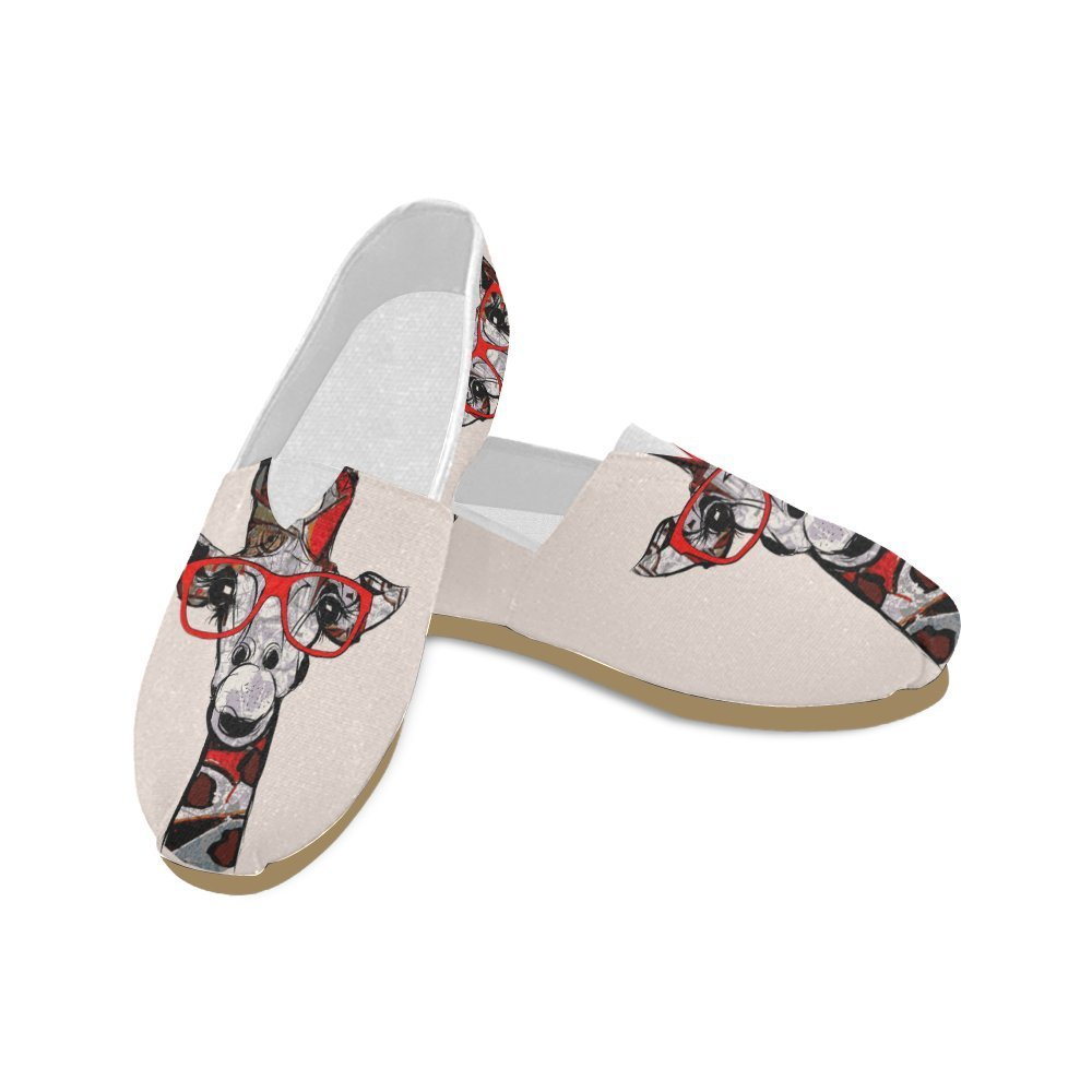 D-Story Fashion Sneakers Flats Giraffe with Sunglasses Women's Classic Slip-on Canvas Shoes Loafers