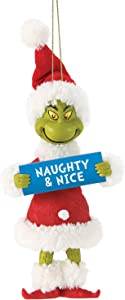 Department 56 Possible Dreams Dr. Seuss How The Grinch Stole Christmas Naughty and Nice Hanging Ornament, 5 Inch, Multicolor