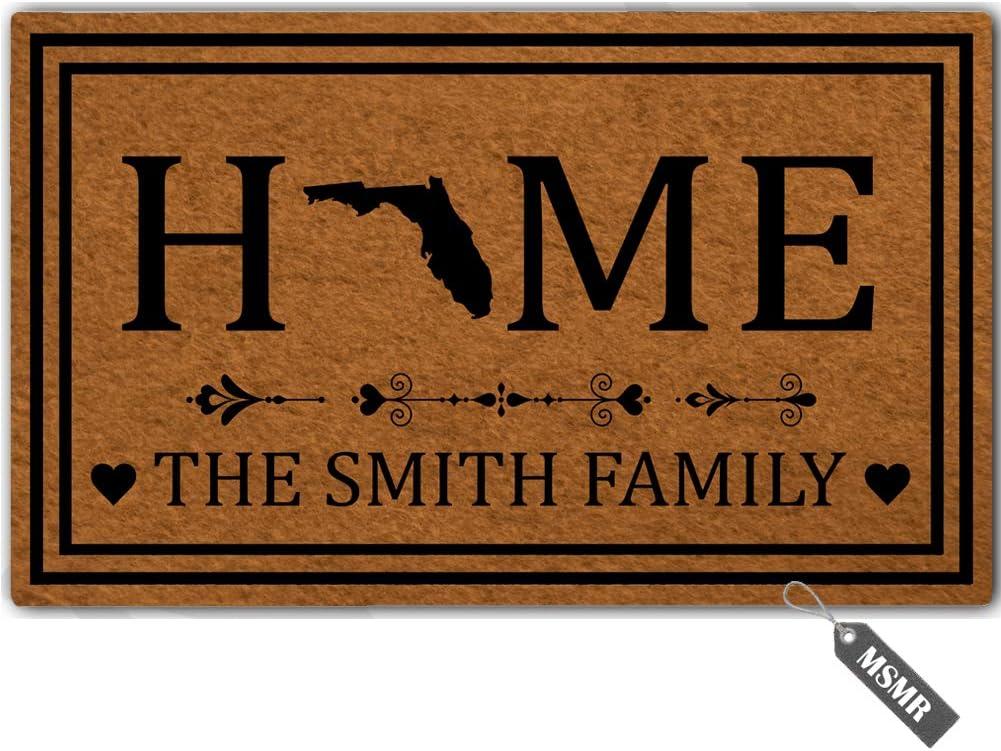"""MsMr Personalized [Your Name] Door Mat Indoor Outdoor Custom Doormat Decorative Home Office Welcome Mat Florida Door Mat 23.6"""" x 15.7"""""""