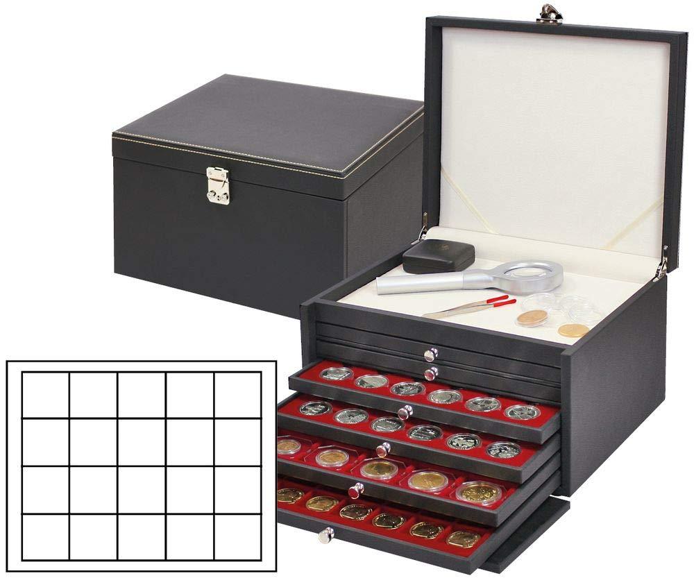 NERA Münzkabinett mit 6 Münzschubladen Münzschubladen Münzschubladen und dunkelroten Münzeinlagen für 120 Münzen/Münzkapseln bis Ø 47 mm 2510f2