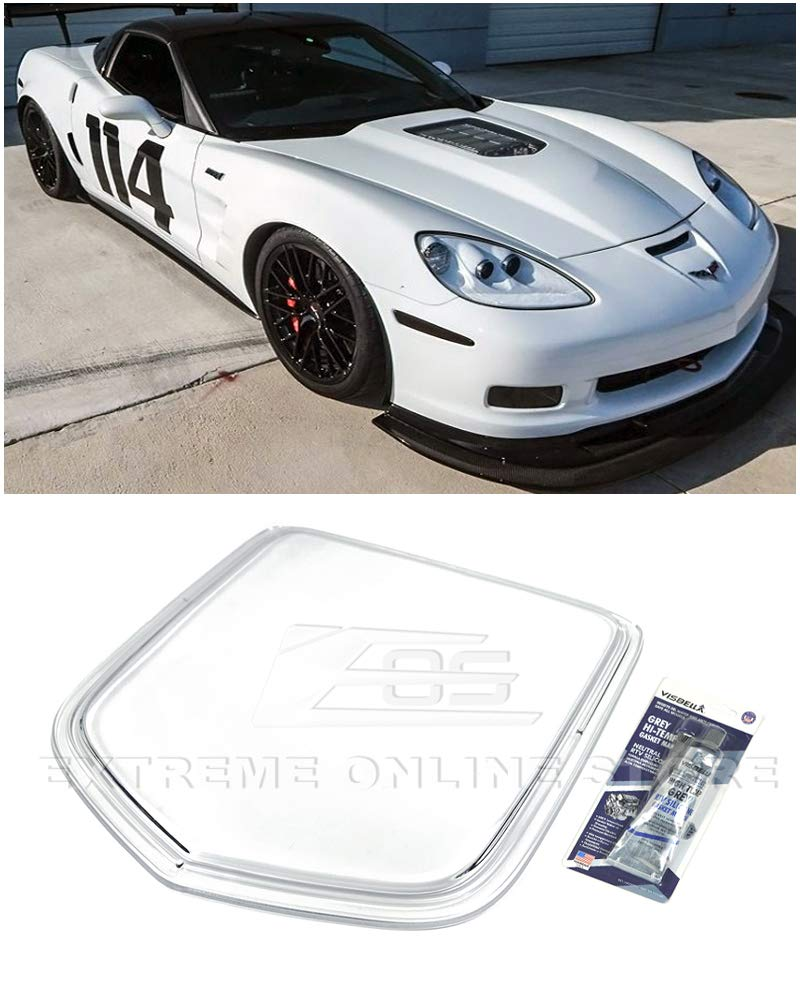 Extreme Online Store for 2005-2013 Corvette C6 | EOS ZR1 Style Polycarbonate Crystal Clear Front Bumper Hood Window Heat Extractor Hood Insert