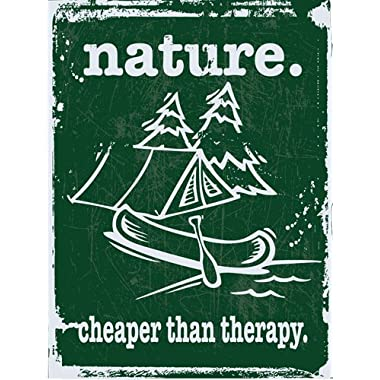 Nature is Cheaper Than Therapy Metal Sign, Camping, Outdoors, Canoe