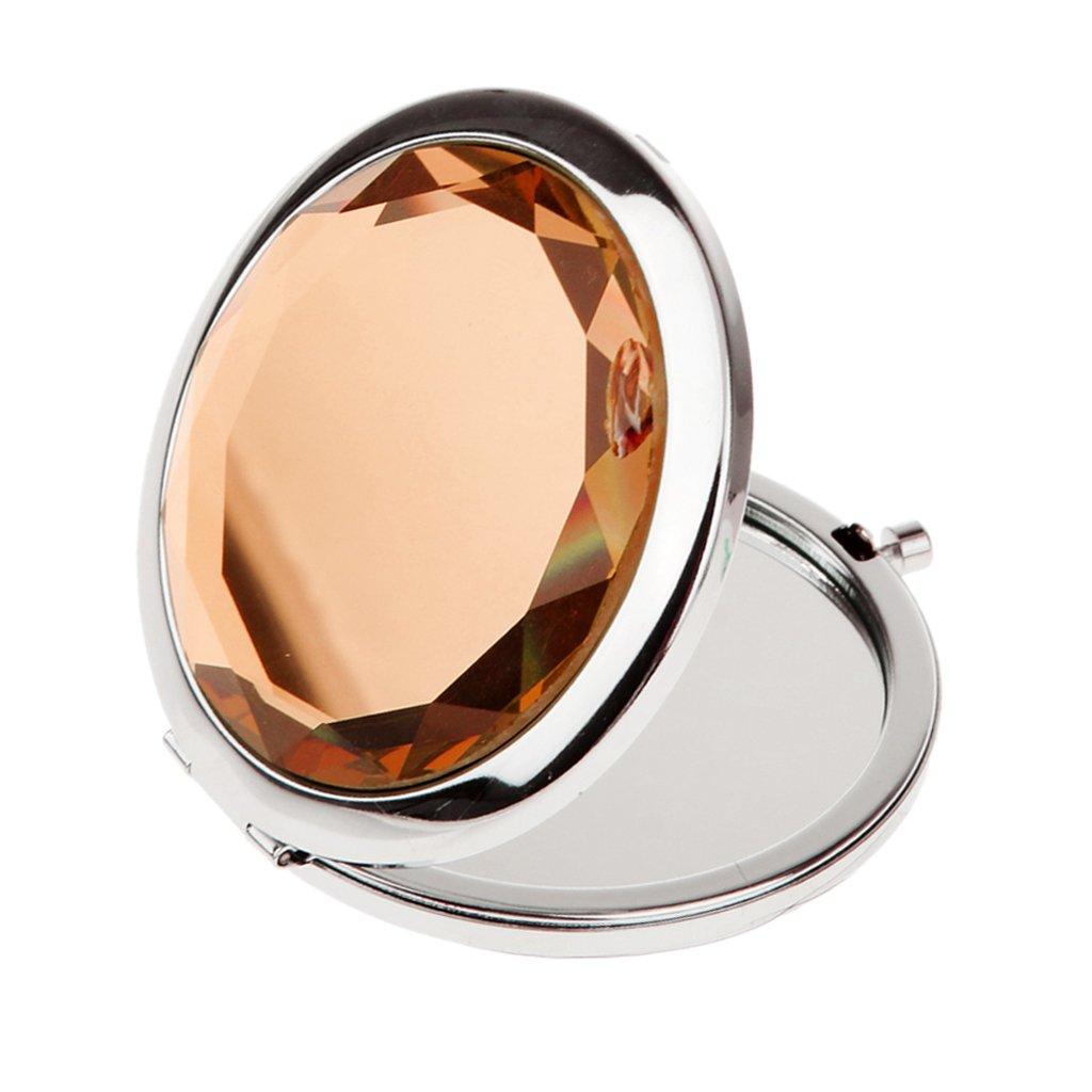 MagiDeal Travel Foldable Compact Crystal Mirror Make up Cosmetic Magnifying Pocket Handbag Mirror - Clear
