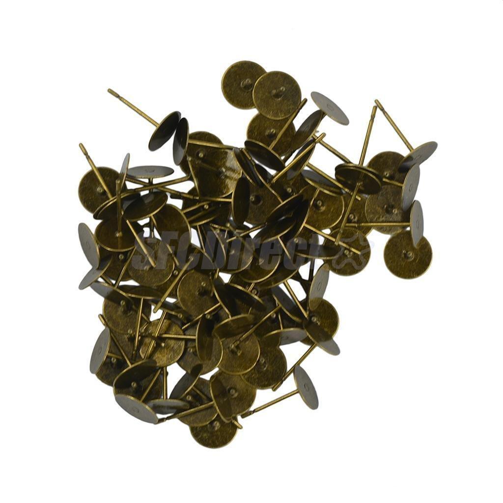 100pcs 8mm Flat Pad Stud Earring Post Peg Pin DIY Making Findings Bronze