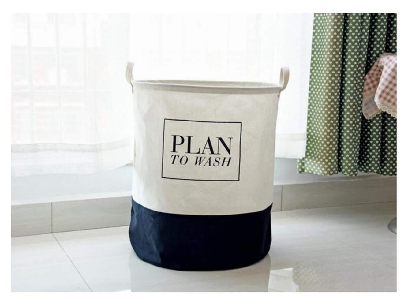 Storage Box Stitching Pattern Storage Bucket Canvas Bag Sundries Storage Bucket(Black+White)