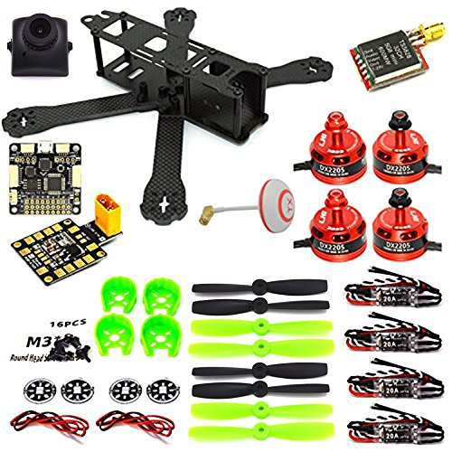 LHI 220 Quadcopter Kit Full Carbon Frame Kit+DX2205 2300KV Brushless Motor+ Littlebee 20A Mini ESC+F3 Flight Controller Board Cleaflight 6DOF Standard+700TVL camera+TS5828 FPV 5.8G 32CH