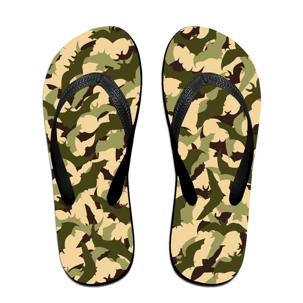 GQOP Unisex Flip Flops Camo Bat Personalized Thong Sandals Beach Sandals