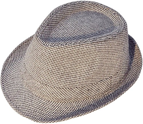Play Brim Hat (Livingston Men & Women's Short Brim Manhattan Trilby Fedora Hat, Brown/Beige)