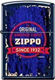 Zippo Grunge Seal Windproof Lighter Since 1932 Blue Matte NEW RARE