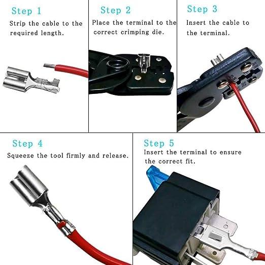 /_ 20 connettore maschio fastom rosso 4,8 x 0,8mm Cavo Scarpe 0,5-1,5mm²